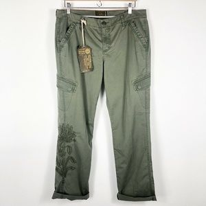 NWT Lucky Brand Embroidered Green Cargo Pants